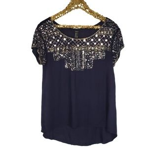 Forever 21 Jewel Sequin Navy Blue Blouse Pullover